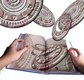 Het boek van de astrologie in handen en horoscoopwielen stock foto's