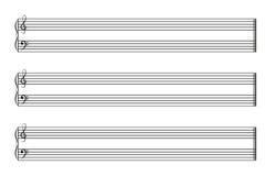 Het boek van de bladmuziek met horizontale staven stock illustratie