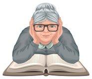 Het boek van de grootmoederlezing De oude vrouw in glazen plaatste zijn handen op een open boek stock illustratie