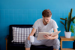 Het boek van de jonge mensenlezing en het drinken koffie op bank in de woonkamer Stock Fotografie