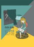 Het boek van de meisjeslezing in stormachtige nacht Vectorhand getrokken die illustratie, met inkt en Witboek wordt gemaakt Kleur Stock Afbeelding