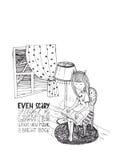 Het boek van de meisjeslezing in stormachtige nacht Vectorhand getrokken die illustratie, met zwarte inkt en Witboek wordt gemaak Royalty-vrije Stock Afbeelding