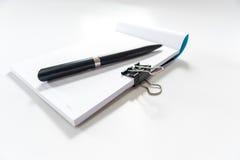 Het boek van de pen en van de nota Stock Fotografie