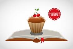 Het boek van het Cupcakerecept Stock Fotografie