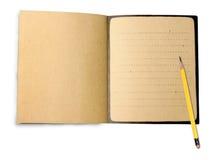 Het boek van het potlood en van de nota stock fotografie
