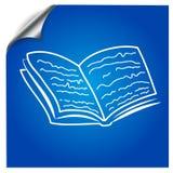 Het boek wordt getrokken met een teller op een blauw Stock Afbeeldingen