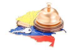 Het boeken van Colombia concept Vlag met hotelsleutel en ontvangstklok Royalty-vrije Stock Foto