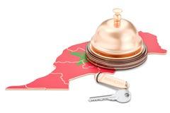 Het boeken van Marokko concept Vlag met hotelsleutel en ontvangstklok, Stock Foto's