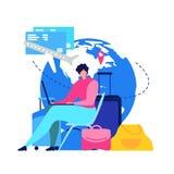 Het boekende Online Vlakke Vectorconcept van Vluchtkaartjes stock illustratie