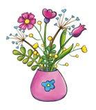 Het boeket van bloemen overhandigt de getrokken illustratie van de klemkunst Stock Afbeelding