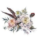 Het Boeket van Boho van waterverfpioenen vector illustratie