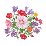 Het boeket van de bloem Bloemen frame Bloei groetkaart Het bloeien F royalty-vrije illustratie