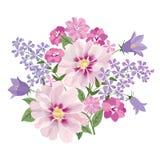 Het boeket van de bloem Bloemen frame Bloei groetkaart Het bloeien F stock illustratie