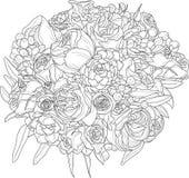 Het boeket van de bloem Vector illustratie in zwart-wit stock illustratie