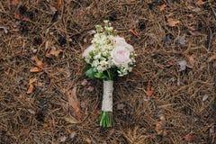 Het boeket van het huwelijk van roze bloemen Stock Foto