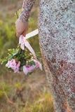 Het boeket van het huwelijk van roze pioenen Stock Foto's