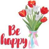 Het boeket van kleurrijke tulpen en wenst u geluk royalty-vrije illustratie
