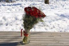 Het boeket van rozen op de sneeuw Stock Foto