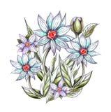 Het boeket van het waterverfneon van lelies royalty-vrije illustratie