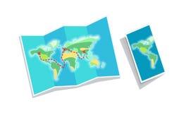 Het Boekje van de wereldkaart op Witte Achtergrond wordt geïsoleerd die royalty-vrije illustratie