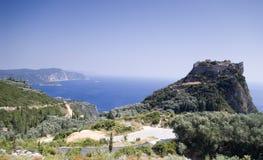 Het bolwerkruïne van Angelokastro, Korfu Stock Foto's