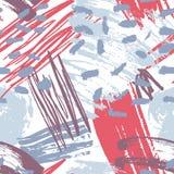 Het bont abstracte artistieke naadloze patroon met creatieve chaotische verfsporen, vlekken, vlekken, bekladt op witte achtergron royalty-vrije illustratie