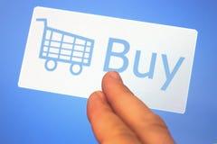 Het boodschappenwagentje en koopt teken Royalty-vrije Stock Foto's