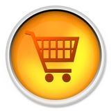 Het boodschappenwagentje, knoop, pictogram, Webpictogram, e-koopt, Webknoop Stock Afbeelding