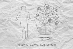 Het boodschappenwagentje van de cliënt met giftauto's en coupons, klant fide Royalty-vrije Stock Foto's