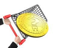 Het boodschappenwagentje van de handholding om vraagteken digitaal muntstuk te dragen royalty-vrije illustratie
