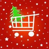 Het boodschappenwagentje van Kerstmis Stock Afbeelding