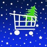 Het boodschappenwagentje van Kerstmis Stock Afbeeldingen