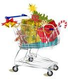 Het boodschappenwagentje van Kerstmis stock illustratie