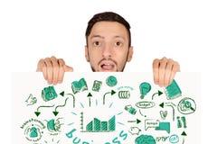 Het bord van de mensenholding met bedrijfsschets stock afbeelding