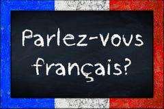 Het bord van parlez-Vousfrancais met het kader van de francehvlag royalty-vrije stock afbeelding