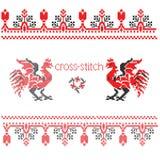 Het borduurwerk van de haan dwars-steek Royalty-vrije Stock Afbeelding