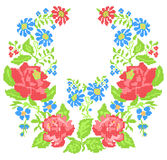 Het borduurwerk van de halslijn (dwars-steek) met rozen Stock Foto's