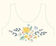 Het borduurwerk vereenvoudigde het etnische bloemenpatroon van de halslijn met rozen Royalty-vrije Stock Fotografie