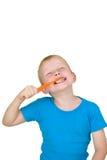 Het borstelen van de jongen tanden Royalty-vrije Stock Foto's