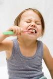 Het borstelen van tanden Stock Fotografie
