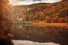 Het bos en de rivier van de herfstkleuren met brug in de zonneschijn Stock Foto