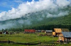 Het bos en het chalet Stock Foto