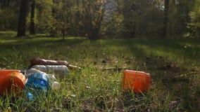 In het bos lig huisvuil, plastiek, flessen, verontreiniging van aard stock footage
