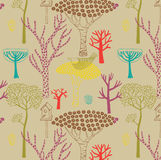 Het bos naadloze patroon van de herfst Stock Fotografie