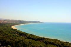Het bos van de pijnboom, strand & overzees, Sicilië royalty-vrije stock foto