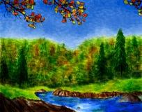 Het Bos van de waterverf in de Herfst Royalty-vrije Stock Afbeelding