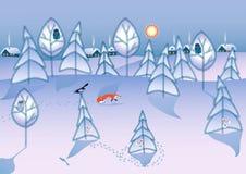 Het bos van de winter stock illustratie