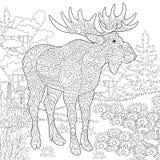 Het bosdier van Zentangleamerikaanse elanden vector illustratie