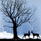 Het boslandschap van de sneeuwwinter met deers. Abstracte illustratie van de winterbos. royalty-vrije illustratie