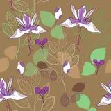 het botanische vectorpatroon van het druk naadloze patroon in warme bruin en lavendel vector illustratie